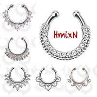 Wholesale body jewelry hoops - 3 PCS New Fashion crystal Fake septum Piercing nose ring Hoop For Women faux clip Rings clicker non trinket Mujer Body Jewelry