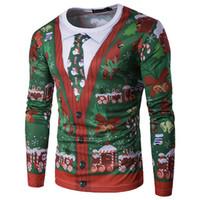 neue hässliche weihnachtsstrickjacken großhandel-2017 neue männer t shirts Casual Weihnachten 3D Gedruckt Lustige Feliz Navidad Hässliche Pullover Langarm T-Shirts Oansatz Silm Tops Geschenke