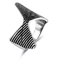 Wholesale wholesale gothic metal punk rock - FUNIQUE 2018 New Punk Rock Gothic Metal geometry Rings Men Vintage Black Rings Men Jewelry Valentines Day Gift statement
