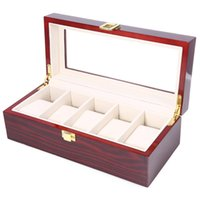 Wholesale Wood Lacquered Box - Wholesale-High Quality Watch Boxes 5 Grids Wooden Watch Display Piano Lacquer Jewelry Storage Organizer Jewelry Collections Case Gifts