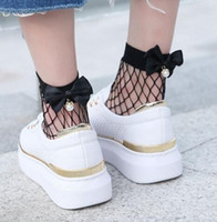 Wholesale pearl socks - Fashion Female Cute Pearl Bowknot Fishnet Ankle Sock Mesh Fish Net Hosiery Socks Summer Black White children ladies socks 10pairs 20pcs