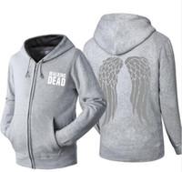 moda ceket kanatları toptan satış-The Walking Dead Tişörtü Fermuar Pamuk hoodie erkekler Wings Hoodie Siyah / Gri Ceket Erkekler Giysileri Moda Kapşonlu Hombre fermuar Anime hoody