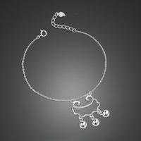 sterling glocken armband großhandel-heiße Dame 925 Sterling Silber Armband Wolke Glocke Anhänger Design Solide Silberarmband Feine Gute Qualität Freies Verschiffen