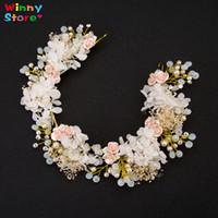 Wholesale Western Hair Headbands - Western Bridal Hair Accessories Flower Headband Crystal Beach Wedding Tiara For Bride Bridesmaid Costume Hair Jewelry Headpiece