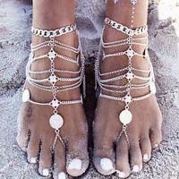 zehenkugelstrand großhandel-Vintage billig barfuß Strand Sandalen für Hochzeiten Silber Fußkettchen Kette Goldmünze Quasten Zehenring Perlen Braut Brautjungfer Fußschmuck