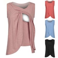 Wholesale maternity clothing - Pregnancy Maternity Tops Breastfeeding Shirt Nursing Tops Tank For Women Breastfeeding Shirt Clothes Colors LJJO4219
