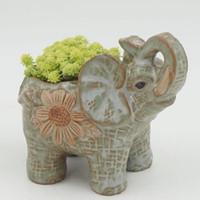 ingrosso piantatore di fiori d'epoca dell'annata-Vasi di fiori Vintage Mini ceramica Elefante Fioriera Cactus Pianta grassa Vaso di fiori Vasi di bonsai Forniture da giardino Decorazione domestica