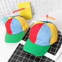 sombreros de bambú snapback al por mayor-Novedad Propeller Gorra de béisbol Colorido Adulto Niños Universal Canvas Hat Divertido Con Bamboo Dragonfly Snapback Nueva Llegada 11lx BB