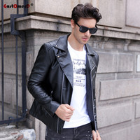Wholesale Mens Fitted Leather Motorcycle Jacket - 2018 Autumn Winter Casual Zipper PU Leather Jacket Motorcycle Leather Jacket Men Slim Fit Mens Jackets And Coats