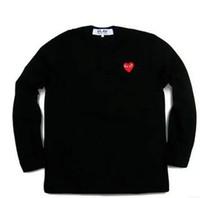 marka uzun kollu gömlek erkek çizgili toptan satış-Sıcak Japonya marka Erkek Kadın bb gc Siyah kırmızı kalp nakış uzun Kollu şerit hoodies T-Shirt Nakış Kırmızı Kalp Tee Açık ceketler