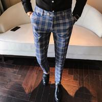 pantolon takım elbiseleri toptan satış-Erkekler Elbise Pantolon Ekose Iş Rahat Slim Fit Pantalon Bir Carreau Homme Klasik Bağbozumu Kontrol Suit Pantolon Düğün Pantolon