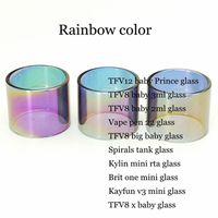 Wholesale spiral glass tube - Rainbow Color Replacement Glass Tube for TFV8 baby X Prince 2ml 3ml Vape pen 22 TFV8 Big Baby Spirals Brit one Kayfun v3 Kylin Mini RTA DHL