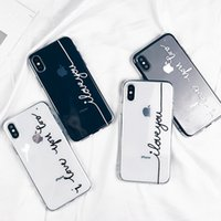 Wholesale Iphone Cases Cartoon Lovers - Letter Print Lovers Phone Case For iphone X Case Ultra thin Soft TPU silicone gel Clear Back Cover For iphone 6S 6 7 8 Plus Cartoon Capa