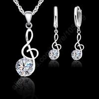 ingrosso orecchini note musicali-Giemi Musical Notes Jewelry Set 925 Sterling Silver Shiny Cubic Zirconia simboli forma pendente collana orecchini Set regalo delle donne