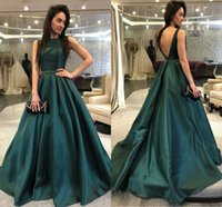 Wholesale green plus size special occasion dresses - Plus Size Elegant A Line Prom Dresses Bateau Backless Sleeveless Floor Length Special Occasion Dress Popular Evening Dresses
