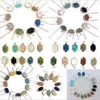 Wholesale White Acrylic Necklace - 10 Styles kendra Druzy Drusy Earrings Scott Necklace Silver Gold Resin Stone Necklaces Can Message Mixed Colors AS U Like to Meet