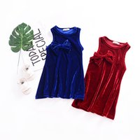 Wholesale Girls Lace Dress Brooch - Ins Baby girls Summer Dress Bowknot Brooch party Princess dress infant toddlers pleuche Sleeveless Dress Solid Color Blue Red A8533