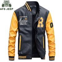 Wholesale mens pilot jacket fur - 2018 NEW Mens Autumn Leather Jacket Men Wool Liner Warm Patchwork Fashion Baseball Collar Pilot Leather Jacket Coat