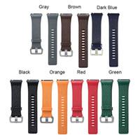 echtes perforiertes leder großhandel-2017 Ersatz Sport Band Strap Für Fitbit Ionic Perforierte Echtes Leder Zubehör Band Armband Armband Smart Watch Armband