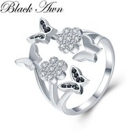 Wholesale real silver finger ring - [BLACK AWN] Real 925 Sterling Silver Black Spinel Butterfly Flower Finger Elegant Open Rings for Women Fine Jewelry Gift G028