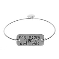 Wholesale bracelet stories - Letter Bracelet Bangle my story isn t over yet Alloy Bracelets Gold Silver Color Cuff Bangles Letter Bracelets