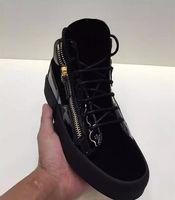 zapatos italianos casuales de cuero para hombre al por mayor-Zapatos de cuero de los hombres de lujo del diseñador al por mayor a estrenar de los entrenadores Zapatillas de deporte de los hombres GZ07 Empalme de cuero de la manera ocasional de la tapa baja con la caja