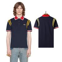 итальянские бренды одежды оптовых-18ss Бренд итальянский дизайнер хлопок с  коротким рукавом рубашки поло воротник 0284df1a2eb