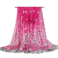 bufandas de gasa vintage al por mayor-New Women Smooth Silk Chiffon Butterfly Flower Shawl Vintage Summer Female Skinny Scarf Bohemia Crepe Scarves 7 COlors
