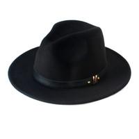 siyah şapka kadın klasik toptan satış-Yeni Moda Yün kadın Siyah Lava Için Fedora Şapka Yün Geniş Ağız Caz Kap Vintage Panama Güneş Üst Şapka 20