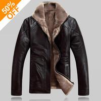 men s casual jacket designs groihandel-Winter warme Motorrad Lederjacke Herren Casual Brand Jacke Luxus Fell Schaf Leder Herren Pelz Oberbekleidung Design Plus