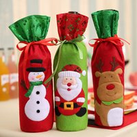 Wholesale Champagne Wine Bottle Bags Covers Embroidery Design Santa Claus Snowman Deer Christmas Decoration Bottle Cover Clothes Kitchen Decoration