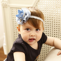 Wholesale stylish headband hair online - Baby Stylish Pearl Headbands Kids Elastic hairband with Flower Girls rose Hairbands Children Hair Accessories KHA688