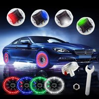 Wholesale tires led light - Car Auto Waterproof Solar Energy Wheel Light Lamp Decorative Flashing Colorful LED Tire Light Gas Nozzle Cap Motion Sensors Universal
