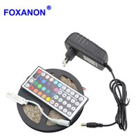 controladores de luz de navidad al por mayor-Foxanon 5050 5M LED Strip RGB Bulbo flexible DC12V 300Leds Luces Xmas String Ribbon lamp + 44key IR Controlador remoto + 3A Power