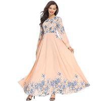 восток модная одежда оптовых-Мода для взрослых элегантный мусульманские женщины тонкий розовый Dress Ближний Восток Абая Дубай кафтан Исламская Леди цифровой печатных длинные платья одежда