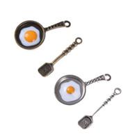 ovo de cozinha de brinquedo venda por atacado-2 pçs / set Dollhouse Miniature panela de ovos fritos Casa de Bonecas Utensílios de Cozinha para Crianças Kid Cozinha Brinquedos Decoração de Cozinha Pandent