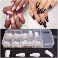 Wholesale new french nails resale online - 3 Colors box New Acrylic Nails French Fake Nails Nail Tips Full Nails Artificial Nail Tip DIY False Nail