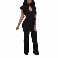 black full bodysuit womens großhandel-Schwarz neue Sommer Jumpsuits Rüschen Kurzarm Strampler Womens Jumpsuit Elegante Damen Breite Beinhosen Weibliche Sexy Volle Bodysuit