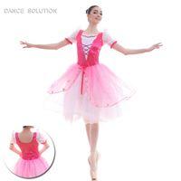 vestido spandex rosa quente venda por atacado-Hot Pink Puff mangas Ballet Tutus de dança para meninas bailarina desempenho vestidos de 18432