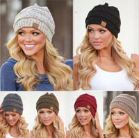 Wholesale knitted soft - Women CC Ponytail Beanie Hat 9 Colors Soft Stretch Cable Knit High Bun Ponytail CC Beanie 30pcs OOA3836