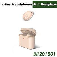 unsichtbarer drahtloser kopfhörerkopfhörer großhandel-Drahtlose Bluetooth Kopfhörer Ohrhörer Mini BL1 Stereo Kleine Single Kopfhörer mit 700 mAh Ladebox Unsichtbare Hörer Headset für Telefon