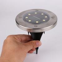 lampe à gazon en acier inoxydable achat en gros de-8 LED en acier inoxydable énergie solaire LED maison maison jardin voie extérieure pelouse cour Stake Ground Light