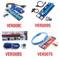 Wholesale Pci E Card - Latest VER 008C 009S 008S 007S VBitcoin Ver008C With LED VER009S Gold Plated Miner Riser PCI-E Express 1X to 16X Graphics Card USB 3.0 Power