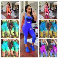 Wholesale motorcycle tanks - PINK Letter Women Outfit Set Summer Tracksuit Gradient Color Sleeveless Tank Top Vest t shirts Tights Pants Sportswear Pink casual outfit