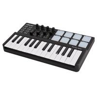 usb midi klavye toptan satış-Toptan Panda MIDI Klavye 25 Tuşları Mini Piyano USB Klavye ve Davul Pad MIDI Denetleyici