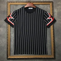 estilo novo dos homens camiseta venda por atacado-2019 novo estilo Designer de Marca dos homens T-shirt de manga curta pentagrama estrela listrado impressão Tshirt dos homens de Algodão Casual t camisas dos homens Tops