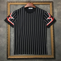 полосатый короткий рукав оптовых-2019 новый стиль дизайнерский бренд мужская футболка с коротким рукавом пентаграмма звезда полосатая печать футболка мужские хлопчатобумажные повседневные футболки мужские топы