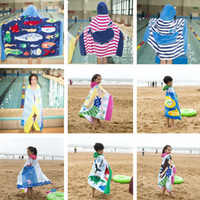 Wholesale children hooded bath towel - Kids Cotton Mermaid Shark Pattern Beach Towel With Hats Baby Children Hooded Boys Girls Cartoon Bath Soft Towel Robes 14 Styles T2I372