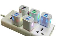 ac para tableta al por mayor-Cargador de pared LED Doble puerto USB 2 puertos Iluminador Water-drop Viaje en casa Adaptador de corriente AC EE. UU. Enchufe de la UE para iPhone Samsung LG HTC Tablet Teléfono