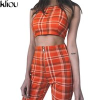 Wholesale Sexy Women Military - Kliou 2017 Two Piece Set Tracksuit Plaid Sexy Sleeveless Sweat Suits for Women Sets Cropped Survetement Femme Military